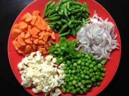 पुलावसाठीच्या भाज्या