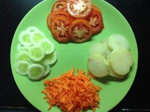सँडविचसाठी लागणा-या भाज्या